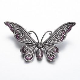 Broche, sort sommerfug med zirconia