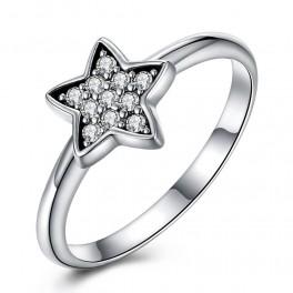 Sølv ring med stjerne med zirconia stene