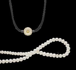 Perlehalskæde og halskæde med 3-radet