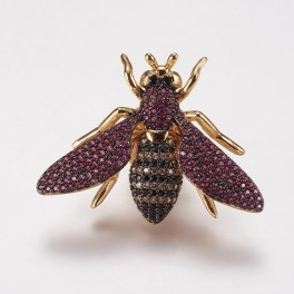 Broche med nål som insekt med zirconia stene i forskellige farver.