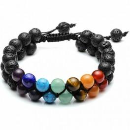 Armbånd med 2 rækker chakra stene, til healing og yoga.