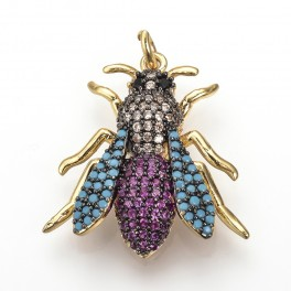 Vedhæng med insekt med zirconia stene i forskellige farver.