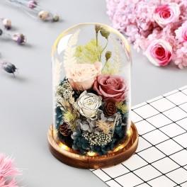 Dekoration af tørrede blomsteri glaskuppel med træ fod og LED-Lys. 05