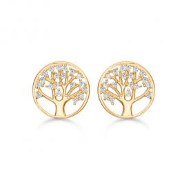 14 kt. guld ørestikker cirkel med livets træ og syntetiske cubic zirconia.