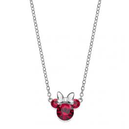 Sølv halskæde Minnie Mouse i rød med hvid sløjfe. Denne halskæde passer til ørestikkerne med samme Minnie Mouse motiv.
