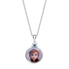 Disney Frost Sølv halskæde cirkel med Anna og syntetisk cubic zirconia på toppen.
