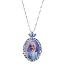 Disney Sølv halskæde oval med Elsa med syntetisk cubic zirconia på toppen. Kæden er sølvforgyldt i længde 38 cm.