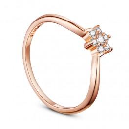 Sølv ring med zirconia sten og rosa forgyldning