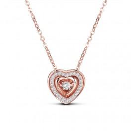 Sølv halskæde i rosaforgyldt med dobbelt hjerte vedhæng med zirconia stene.