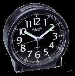 Vækkeur med tydelige tal på sort urskive