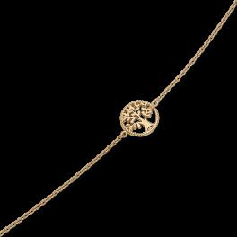 Livets Træ Sølvforgyldt armbånd cirkel med livets træ. Længde 17+4 cm.
