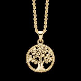 Sølvforgyldt halskæde rhodineret cirkel med livets træ. Mål: 15 mm. i diameter. Kæden er længde 42-45 cm.