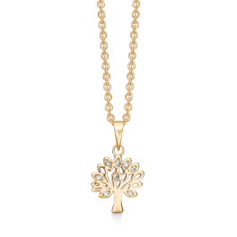 Sølvforgyldt halskæde livets træ med syntetiske cubic zirconia. Kæden er sølvforgyldt i længde 42-45 cm.