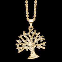 Sølvforgyldt halskæde livets træ med syntetiske cubic zirconia. Mål: 20 x 20 mm. Kæden er sølvforgyldt i længde 42-45 cm.