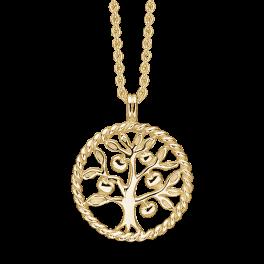 Sølvforgyldt halskæde snoet cirkel med livets træ. Mål: 20 mm. i diameter. Kæden er sølvforgyldt i længde 42-45 cm.