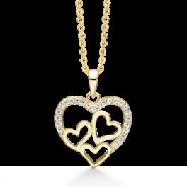 sølvforgyldt mor og barn halskæde med 3 hjerter