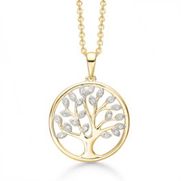 Sølvforgyldt halskæde livets træ hvor bladene er syntetiske cubic zirconia.