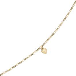Ankelkæde i figarokæde med hjerte charm i midten.