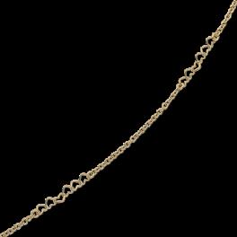 Ankelkæde med med kæde og 2 rækker med åbne hjerter.