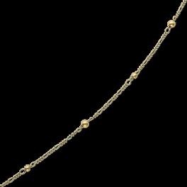Ankelkæde med figaro kæde med 2 store kugler og 3 små kugler.