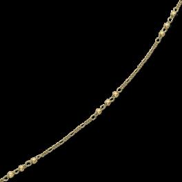 Ankelkæde med figaro kæde med 3x3 kugler og ovale led.