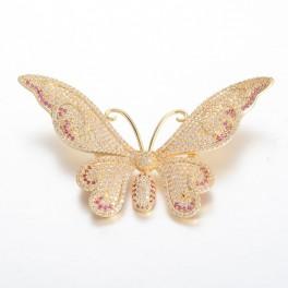 Broche, sommerfugl, forgyldt med zirconia