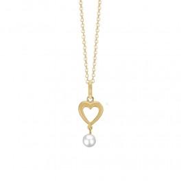 Halskæde med 8 kt. guld vedhæng med hjerte og perle 1680-G8-22-45