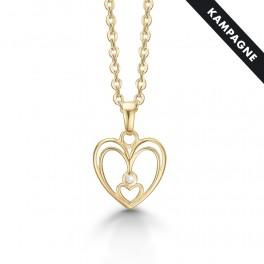Halskæde med 8 karat hjerte vedhæng