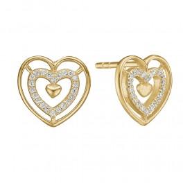 Ørestikker i 8 kt guld med hjerter