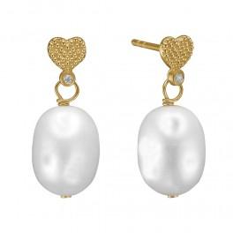 Ørehængere i 8 kt guld med barok perle og zirconia