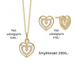 Aagaard hjerte smykkesæt i 8kt guld og 22 zirconia stene.