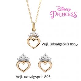 Disney smykkesæt halskæde og ørestikker i 9 kt. guld med krone med hjerte.