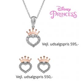 Disney Princess sølv halskæde og ørestikker med rosa krone og hjerte med syntetiske cubic zirconia i kanten.