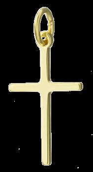 Kors vedhæng i massivt 14 karat guld med blank overflade.