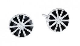 Marguerit ørestikker 7,5 mm - Sølv/Sort - 909075-4-S
