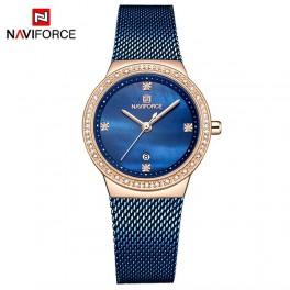 Naviforce dameur med blå meshlænke, stene og blå urskive