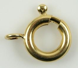 Fjederring i forgyldt sterling sølv 10 mm