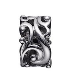 STORY charm i sort sølv med snoet mønster-20