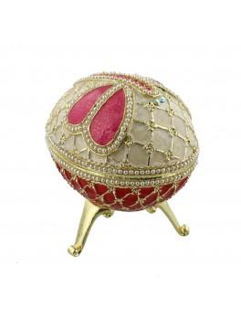 Dekorations æg, stor, rød, pink og creme