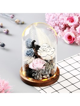 Tørrede blomster i glaskuppel med LED-Lys 03