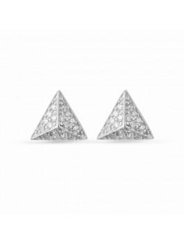 Ørestikker trekant i sølv med zirkonia