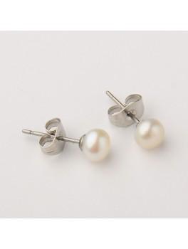 Ørestikker med perler og rustfrit stål