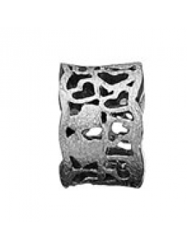 Story ring bred sort sølvring hjertemønster lille-20