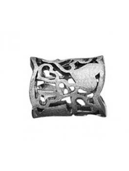 Story ring bred sort sølvring hjertemønster stor-20
