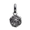 STORY charm i mørkt sølv med detaljeret kugle