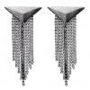 Øreringe i mørkt sølv med lange kæder