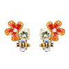 Flora øreringe med blomster og bier