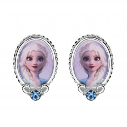 Disney Frost sølv ørestikker oval med Elsa og syntetisk cubic zirconia i bunden.