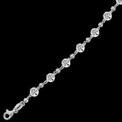 Livets Træ sølv armbånd rhodineret livets træ i cirkler med 1 kugle imellem. Længde 17+4 cm.