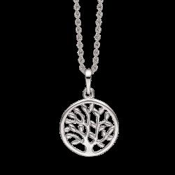 Livets Træ sølv halskæde rhodineret livets træ i cirkel. Mål: 25 mm. i diameter. Kæden er længde 42-45 cm